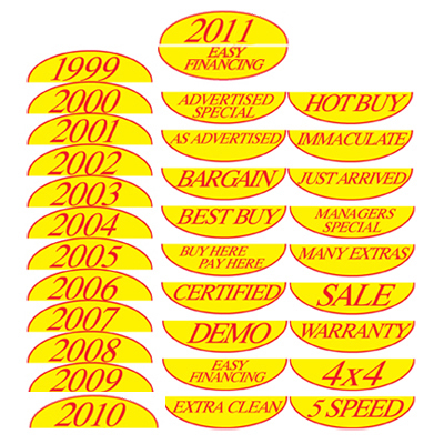 Half Oval Year Models and Slogans